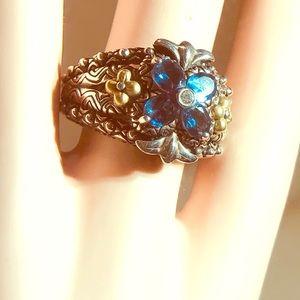 Barbara Bixby Iolite Flower Ring. 925/18k Sz 7